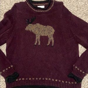 Christopher & Banks Burgundy Moose Sweater